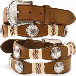 Tony Lama Concho Rawhide Leather Belt
